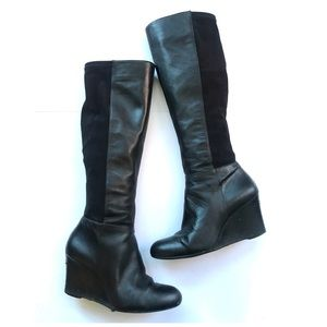 MICHAEL Michael Kors Black Leather wedged Boots 7